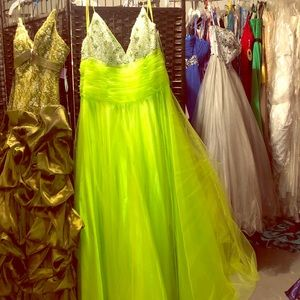 Gorgeous tulle neon lime green w silver beading
